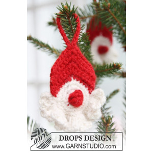 Red Nose Santa by DROPS Design - Jultomte Virk-mönster 8 cm