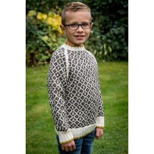 Mayflower Mönstersweater med kontrast.ant - Tröja Stick-opskrift strl. 4 år - 12 år