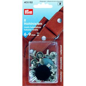 Prym Hålnitar Silver 9mm till 6-9mm tjocklek - 8 st.