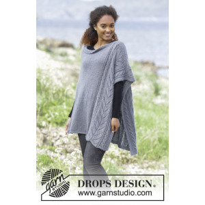 Cloudy Day by DROPS Design - Poncho Stickopskrift strl. S/M-XXL/XXXL