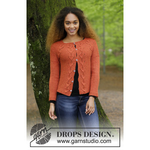 Autumn Vines Cardigan by DROPS Design - Jacka Stickopskrift strl. S - XXXL