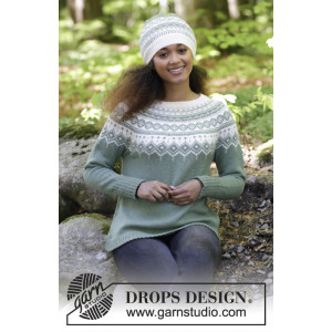 Perles du Nord by DROPS Design - Tröja och Mössa Stickopskrift strl. S - XXXL