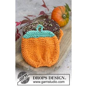 Roasted Pumpkin by DROPS Design - Grytlappar Halloween Stickbeskrivnin