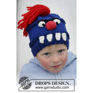 Tooth Monster by DROPS Design - Mössa Stickopskrift strl. 3/7 år - 8/12 år