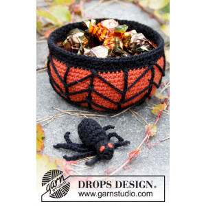 Creepy Candy by DROPS Design - Halloween Pynt Virkmönster Korg 12x6cm
