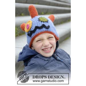 Crazy Eyes by DROPS Design - Mössa Virkopskrift strl. 3/5 - 10/12 år