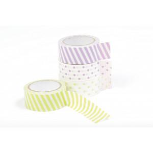 Dekorationstejp/Masking tape Prickar & Ränder Grön/Lila 15mmx5m - 4 st