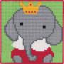 Permin Broderikit Påritad Stramalj till Barn Elefant 25x25cm