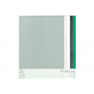 Papper Mix Silver, Vit & Grön A4 - 5 ark