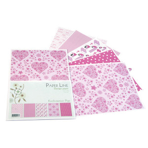 Design Papper Rosa Ass. mönster A4 100g- 5 ark