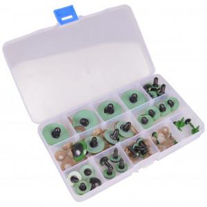 Køb Infinity Hearts Säkerhetsögon/amigurumiögon i plastlåda Grön  8-30mm –