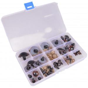 Køb Infinity Hearts Säkerhetsögon/amigurumiögon i plastlåda Brun 8-30mm –