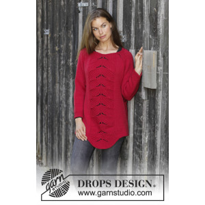 Red Tulip by DROPS Design - Blus stickmönster str. S - XXXL
