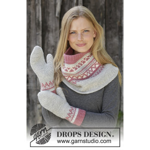 Hint of Heather Set by DROPS Design - Halsdukar och vantar stickmönster str. S/M - M/L