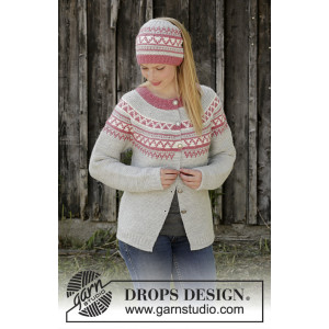 Hint of Heather by DROPS Design - Jacka stickmönster str. S - XXXL