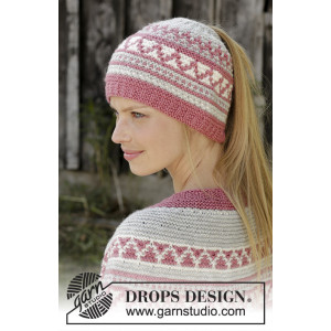 Hint of Heather Hat by DROPS Design - Mössa stickmönster str. S/M - L/XL