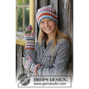 Happy Winter by DROPS Design - Stickmönster mössa och vantar str. S/M - M/L