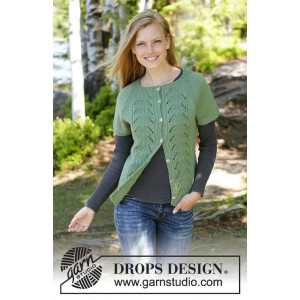 Green Luck Cardi by DROPS Design - Stickmönster väst str. S - XXXL