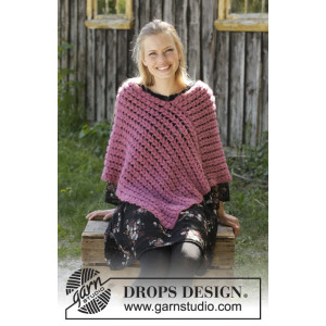 Malina by DROPS Design - Virkmönster poncho str. S - XXXL