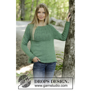 Green Echo by DROPS Design - Stickmönster blus str. S - XXXL