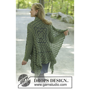 Green Envy by DROPS Design - Virkmönster jacka str. S - XXXL