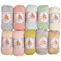 Mayflower Cotton 8/4 Junior Pastel Garnpaket blandade färger - 10 nystan