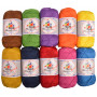 Mayflower Cotton 8/4 Junior Regnbåge Garnpaket blandade färger - 10 nystan