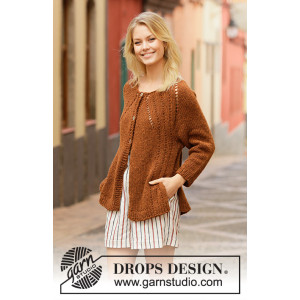 Autumn Spice Cardigan by DROPS Design - Jacka stickmönster str. S - XXXL