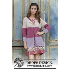 Lavender Rose by DROPS Design - Jacka Stickmönster str. S - XXXL