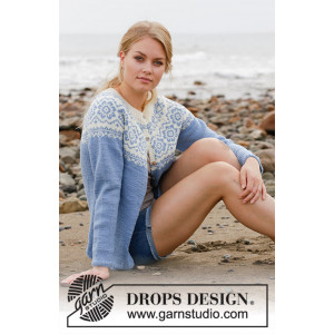 Periwinkle Jacket by DROPS Design - Jacka Stickmönster str. S - XXXL