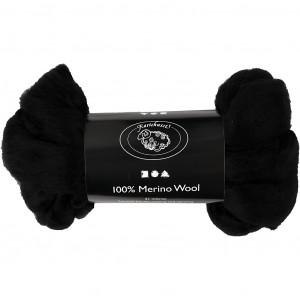Merinoull, 21 my, 100 g, svart