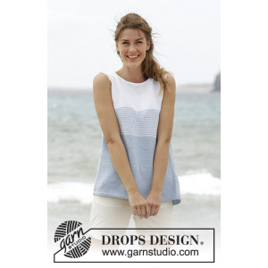 Sea Line by DROPS Design - Randig topp Stick-opskrift strl. S - XXXL