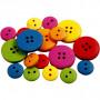 Träknappar, dia. 12-20 mm, hålstl. 1,5-2 mm, 360 st., mixade färger, china berry