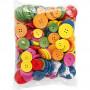 Träknappar, dia. 25-40 mm, hålstl. 2-3 mm, 144 st., mixade färger, china berry