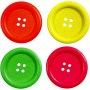 Träknappar, dia. 35 mm, hålstl. 2 mm, 60 st., neonfärger, china berry