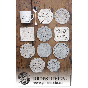 Bright Side Coasters by DROPS Design - Bordsunderlägg Virkmönster 10-12 cm