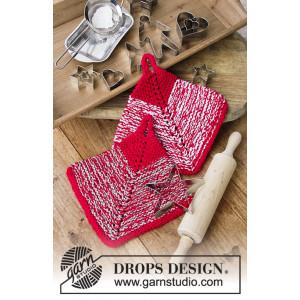 Let's Bake by DROPS Design - Grytlappar Stickmönster18x18 cm