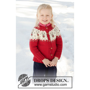 Little Red Nose Jacket by DROPS Design - Jacka Stickmönster str. 12 mdr-12 år
