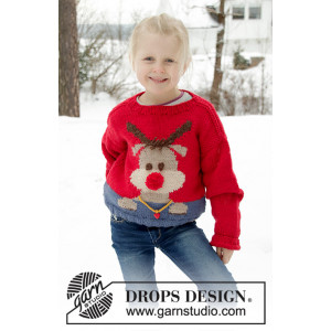 Red Nose Jumper Kids by DROPS Design - Blus Stickmönster str. 2-12 år