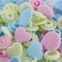 Prym Lov Color Snaps Tryckknappar Plasthjärta 12,4mm Bland. Rosa/Blå/Grön - 30 st