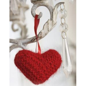 Sweet heart by DROPS Design - Julhjärta Julpynt Stickbeskrivning 5 cm