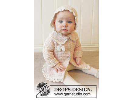 9adc62333b45 Little Lady Rose by DROPS Design - Baby Jacka Virk-mönster strl. 0/1 ...