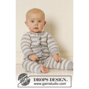 Baby Blues by DROPS Design - Baby Heldräkt Virk-mönster strl. 0/1 mdr - 3/4 år