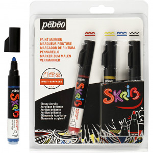 Køb Skrib Marker, spets: 4 mm, 4 st., mixade färger