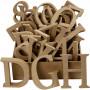 Bokstäver, siffror och symboler av trä, H: 8 cm, tjocklek 1,5 cm, 240 st., MDF