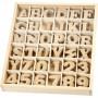 Bokstäver och träsiffror, H: 4 cm, tjocklek 2,5 mm, 288 st., MDF
