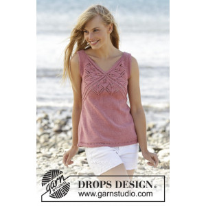 Butterfly Heart Topp by DROPS Design - Topp Stick-opskrift strl. S - XXXL