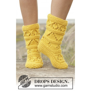 Lemon Twist by DROPS Design - Tofflor Stick-opskrift strl. 35/37 - 40/42