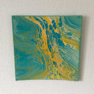 Acrylic Pouring av Rito Krea -Pouring-tavla 20x20 cm