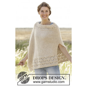 So Classy! by DROPS Design - Poncho Stick-mönster strl. S/M - XXXL